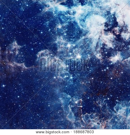 Galaxy illustration, space background with stars, nebula, cosmos clouds on starry sky