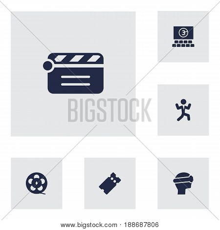 Set Of 6 Pleasure Icons Set.Collection Of Pass, Filmstrip, Cyberspace And Other Elements.