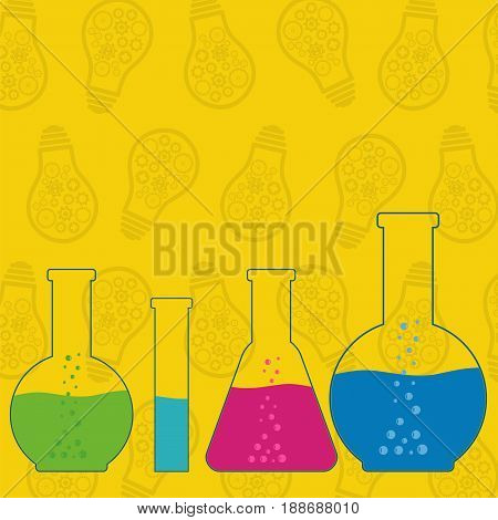 Flasks beakers and test-tubes chemical laboratory equipment on yellow background with light bulbs