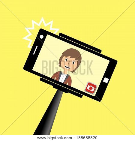 Portrait of smiling young man on smartphone. Selfie stick monopod. Vector illustration.
