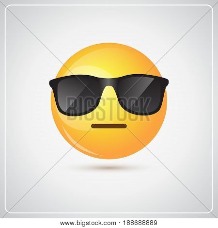Yellow Smiling Cartoon Face Wear Sunglasses People Emotion Icon Flat Vector Illustration