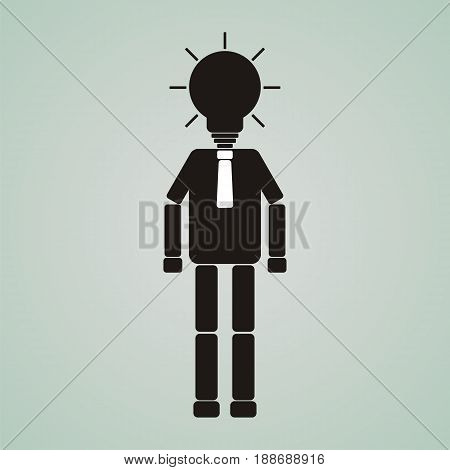 Businessman or worker with glowing light bulb head. Creativity innovation business success and imagination concept.