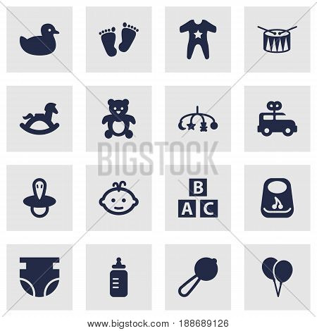 Set Of 16 Kid Icons Set.Collection Of Hangings, Barrel, Teat And Other Elements.