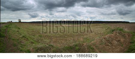 Outcrop Near Hohendorf In Mecklenburg-vorpommern With A Cloudy Sky
