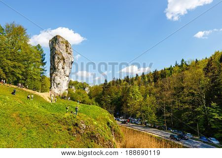 Pieskowa Skala, Poland, May 14, 2017: Limestone Rock Called Bludgeon Of Hercules Near Castle Pieskow