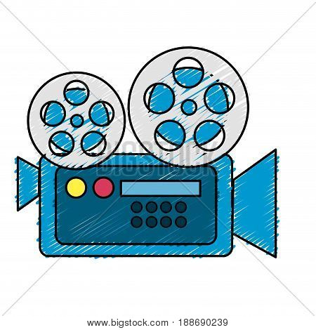 movie camera to projection scene, vector illustration