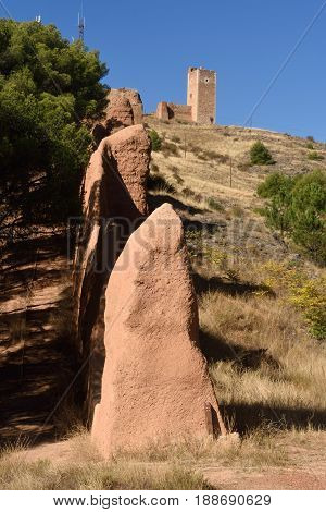 View Of The Wall From The Tower Of Jaque To The Tower Of San Cristobal, Daroca; Zaragoza Province, A