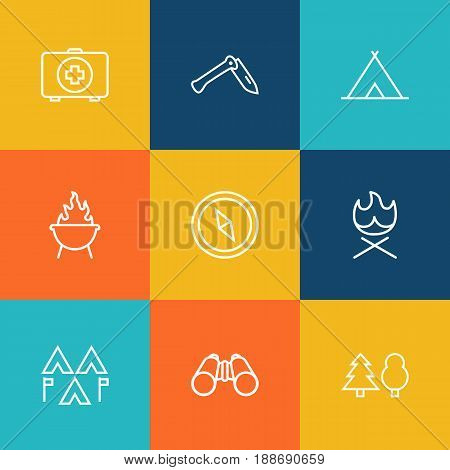Set Of 9 Outdoor Outline Icons Set.Collection Of Forest, Encampment, Bonfire And Other Elements.