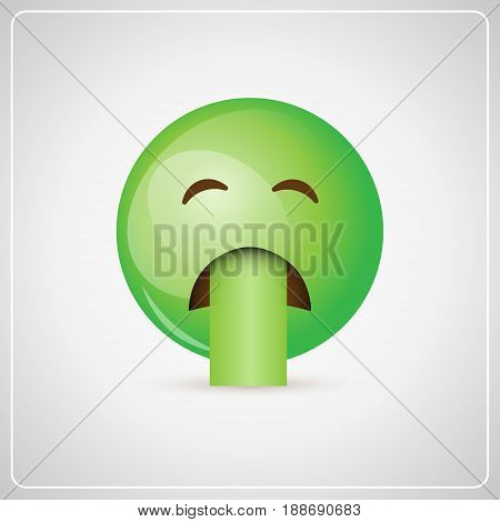 Green Cartoon Face Sick Feeling Bad People Emotion Icon Flat Vector Illustration