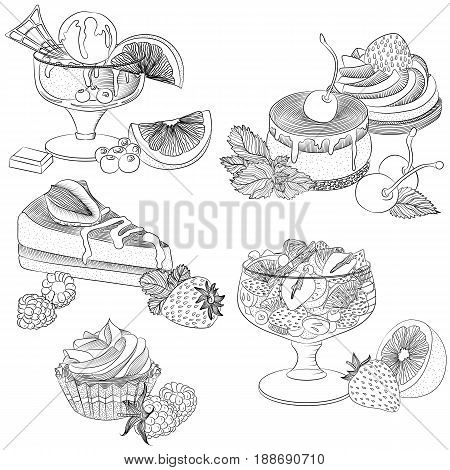 Vector line art illustration with food. Set with various fruit desserts. Illustration for menu cookbook or coloring book. Sketch isolated on white background
