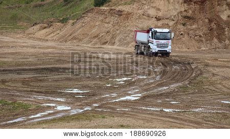 Truck On Sand And Gravel Outcrop Site