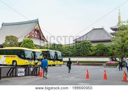 Tokyo Japan - May 1 2017: Buses is parking in the parking area of Sensoji shrine.