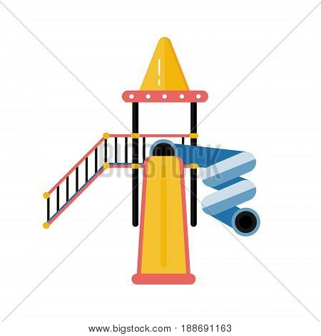 Kids playground vector plastic slide in flat design. Children play area slippery dip isolated on white background. Kindergarten amusement toy. Youth sport and recreation ground icon.