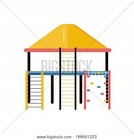 Kids playground vector plastic rope ladder system in flat design. Children play area climber complex isolated on white background. Kindergarten amusement toy. Youth sport and recreation ground icon.