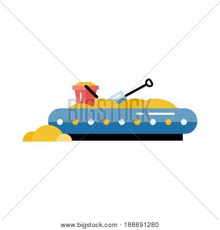 Kids playground vector sandpit in flat design. Children play area sandbox isolated on white background. Kindergarten amusement toy. Youth sport and recreation ground icon.