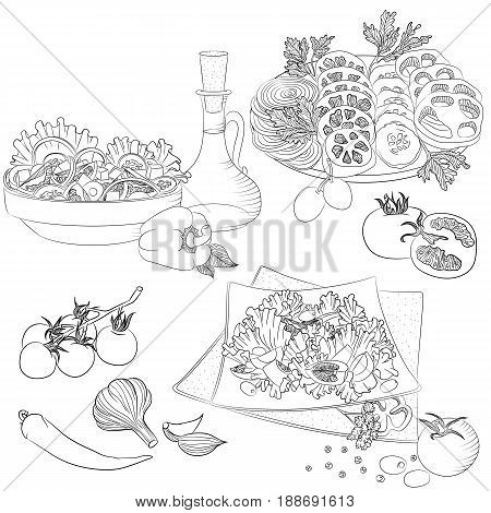 Vector line art illustration with food. Set with various vegetable salads. Illustration for menu cookbook or coloring book. Sketch isolated on white background