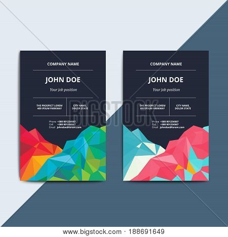Abstract multipurpose corporate business card on low poly layout. Creative vector id template. Modern geometric background for identity badge.