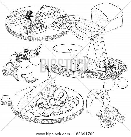 Vector line art illustration with food. Set with various sandwiches and cheese and sausage slicing. Illustration for menu cookbook or coloring book. Sketch isolated on white background