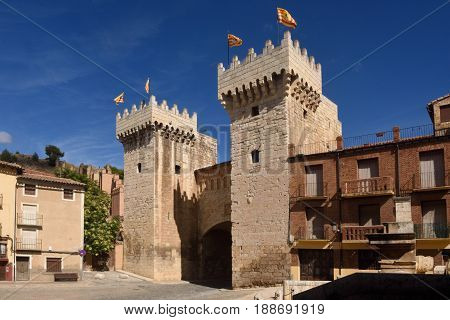 Puerta baja (low door) in medieval town of Daroca Zaragoza province AragonSpain