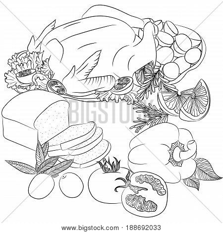 Vector line art illustration with food. Still life with fried chicken bread and vegetables. Illustration for menu cookbook or coloring book. Sketch isolated on white background