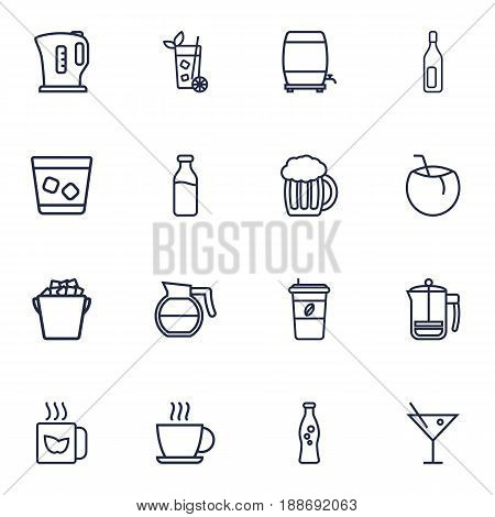Set Of 16 Drinks Outline Icons Set.Collection Of Lime, Cappuccino, Hot Drink And Other Elements.