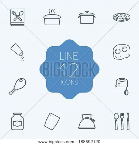 Set Of 12 Culinary Outline Icons Set.Collection Of Book Of Recipes, Cutlery, Mixer And Other Elements.