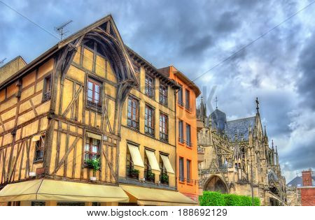 Traditional half-timbered houses in Troyes - France, Champagne