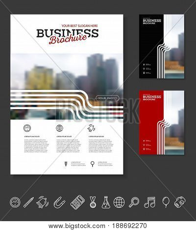 Company flyer vector illustration. Front page and back page template. vector in A4 size