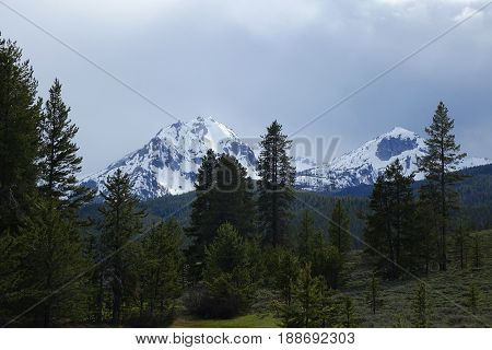 Sawtooth Mountains in the spring, near Stanley, Idaho.