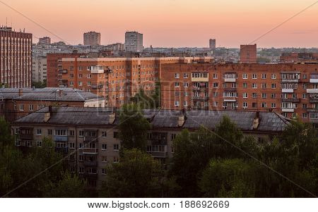 russian province brick houses cityscape at evening