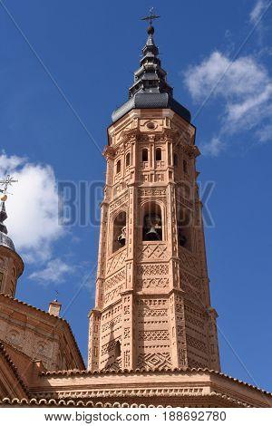 Bell tower Collegiate church of Santa Maria la Mayor Calatayud. Zaragoza province Aragon
