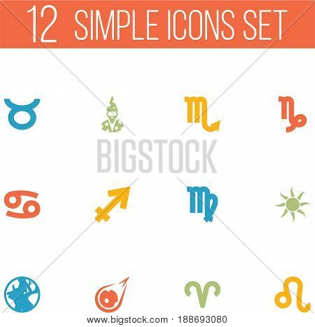 Set Of 12 Horoscope Icons Set.Collection Of Zodiac Sign, Bull, Archer And Other Elements.