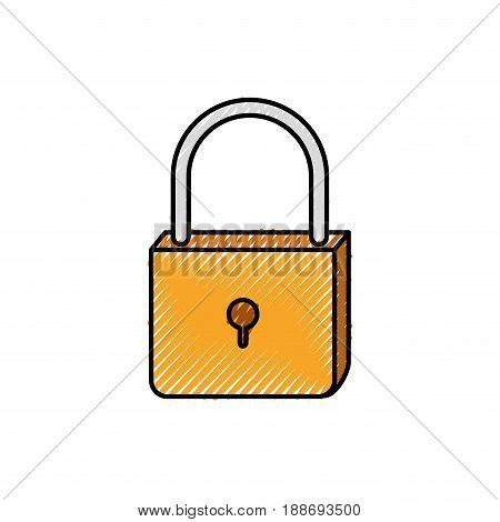 colored crayon silhouette of padlock icon vector illustration