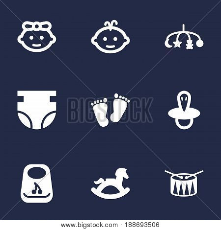 Set Of 9 Kid Icons Set.Collection Of Baby, Hangings, Breastplate And Other Elements.