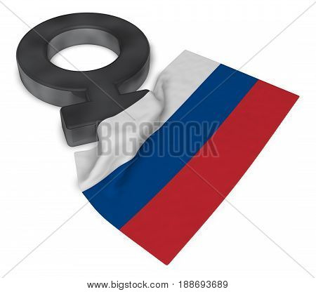 female symbol and flag of russia - 3d rendering