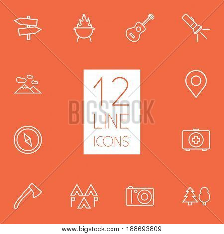 Set Of 12 Camping Outline Icons Set.Collection Of Guidepost, Place Pointer, Medical Kit And Other Elements.