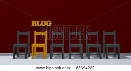 the word blog and a row of chairs - 3d rendering