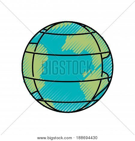 colored crayon silhouette of earth globe with meridians and parallels vector illustration