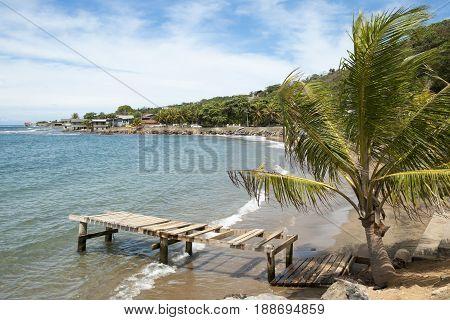 The coastline of Coxen Hole town on Roatan island (Honduras).