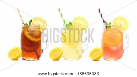 Three Mason Jar Glasses Of Summer Iced Tea, Lemonade, And Pink Lemonade Drinks Isolated On A White B