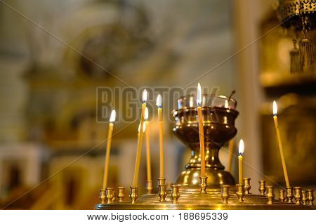 Orthodox Church. Christianity. Candles burn in the church