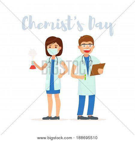 Chemist's Day. Set cute doctor. Team doctors. Vector illustration in cartoon style.