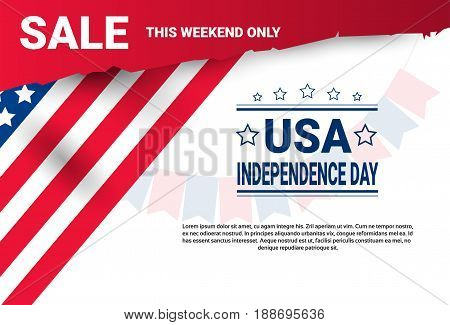 Shopping Discount Sale United States Independence Day Holiday 4 July Banner Flat Vector Illustration
