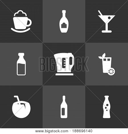 Set Of 9 Drinks Icons Set.Collection Of Fizzy Water, Alcohol, Lime And Other Elements.