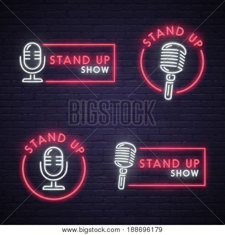 Set Stand Up neon sign. Neon sign, bright signboard, light banner