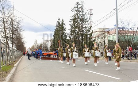 Kirishi, Russia - 9 May, Preparation for the festive procession, 9 May, 2017. Preparation and conduct of the action Immortal regiment in small cities of Russia.