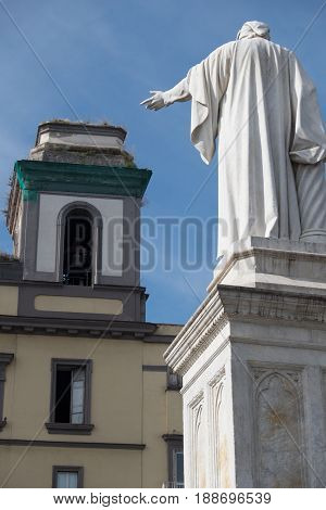 Piazza Dante Naples marble statue of Dante Alighieri