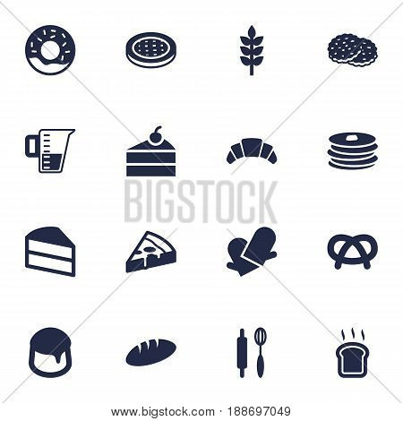 Set Of 16 Pastry Icons Set.Collection Of Measurement, Dessert, Cake And Other Elements.
