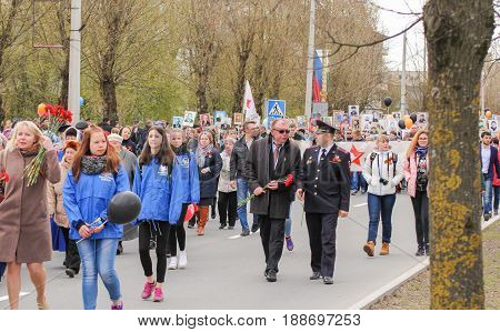 Kirishi, Russia - 9 May, Procession of the action is an immortal regiment, 9 May, 2017. Preparation and conduct of the action Immortal regiment in small cities of Russia.
