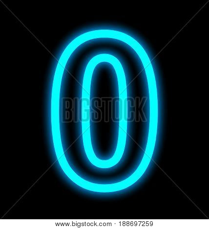 Number 0 Neon Lights Outlined Isolated On Black